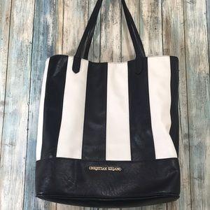 Black and white striped tote handbag